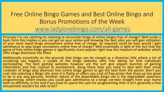 Free Online Bingo Games and Best Online Bingo and Bonus Promotions of the Week