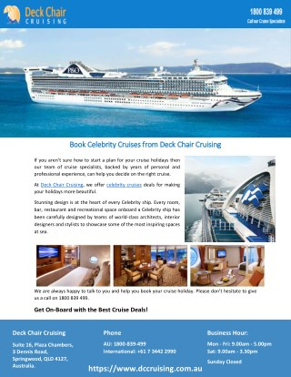 Book Celebrity Cruises from Deck Chair Cruising