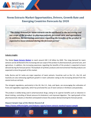 Neem Extracts Market Opportunities, Drivers, Growth Rate and Emerging Countries Forecasts by 2020