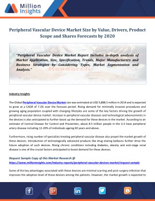 Peripheral Vascular Device Market Size by Value, Drivers, Product Scope and Shares Forecasts by 2020