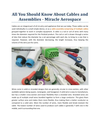 All You Should Know About Cables And Assemblies - Miracle Aerospace