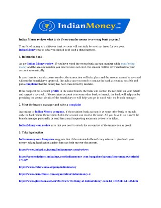 Indian Money reviews what to do if you transfer money to a wrong bank account?