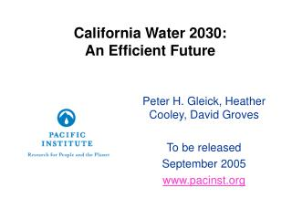 California Water 2030: An Efficient Future