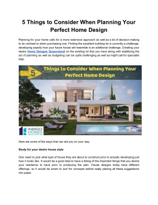 5 things to consider when planning your perfect Home Design