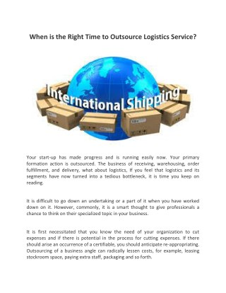 When is the Right Time To Outsource Logistics Service?