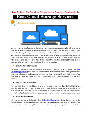 How To Select The Best Cloud Storage Service Provider – Codebase India