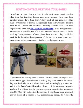 How to control pest for your home