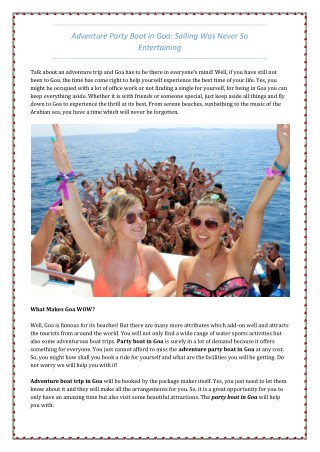 Adventure Party Boat In Goa: Sailing Was Never So Entertaining