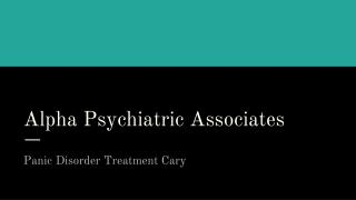 Panic disorder treatment cary
