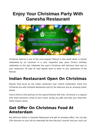 Enjoy Your Christmas Party With Ganesha Restaurant
