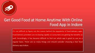 Get Good Food at Home Anytime With Online Food App in Indore