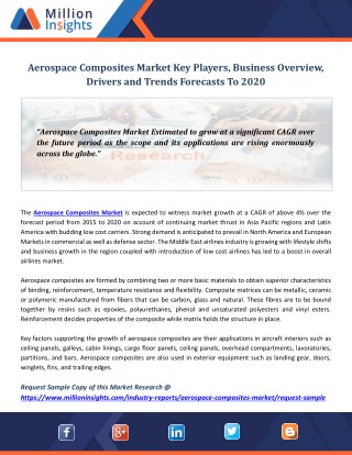 Aerospace Composites Market Key Players, Business Overview, Drivers and Trends Forecasts To 2020