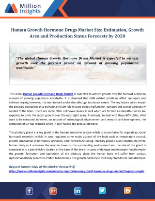 Human Growth Hormone Drugs Market Size Estimation, Growth Area and Production Status Forecasts by 2020