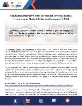 Application Delivery Controller Market Revenue, Shares, Dynamics and Market Restraints Forecasts To 2024