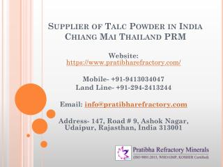 Supplier of Talc Powder in India Chiang Mai Thailand PRM