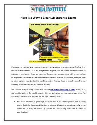 Here is a Way to Clear LLB Entrance Exams