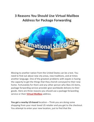 3 Reasons You Should Use A Virtual Mailbox Address for Package Forwarding