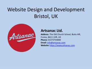 Web Design and Development Services Bristol- Artsanac