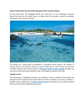 Spend A Memorable Few Days With Galapagos Islands Vacation Package