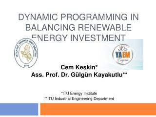 DYNAMIC PROGRAMMING IN BALANCING RENEWABLE ENERGY INVESTMENT
