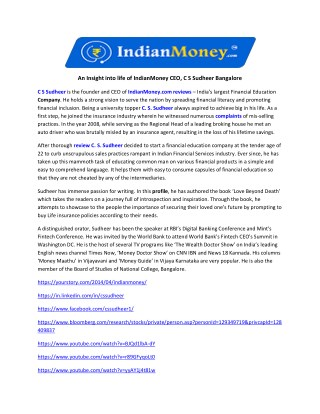 An Insight into life of IndianMoney CEO, C S Sudheer Bangalore