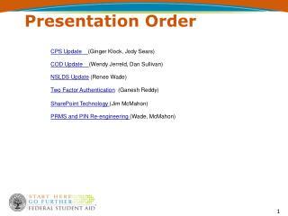 Presentation Order