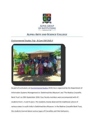 Environmental Studies Trip - B.Com ISM Shift II - Alpha arts and science college chennai