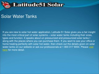 Quality and Unique Solar Water Tanks