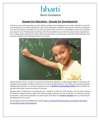 Donate For Education - Donate for Development