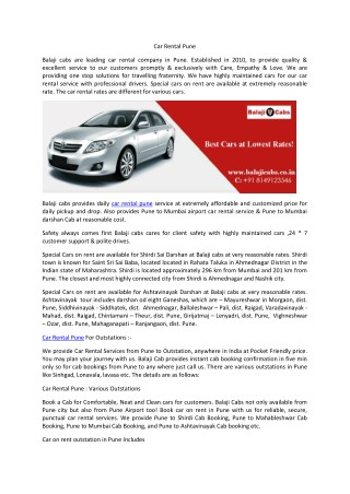 Car Rental Pune