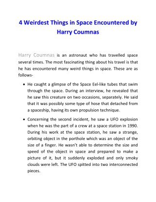 4 Weirdest Things in Space Encountered by Harry Coumnas