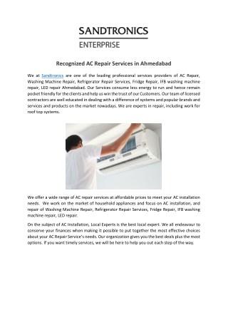 Recognized AC Repair Services in Ahmedabad
