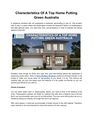 Characteristics Of A Top Home Putting Green Australia