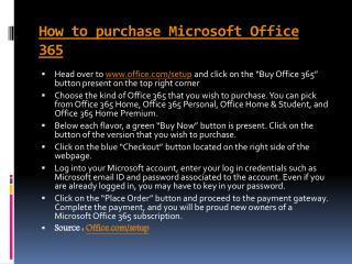 How to purchase Microsoft Office 365