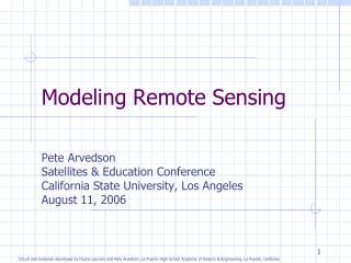Modeling Remote Sensing