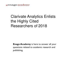 Clarivate Analytics Enlists the Highly Cited Researchers of 2018