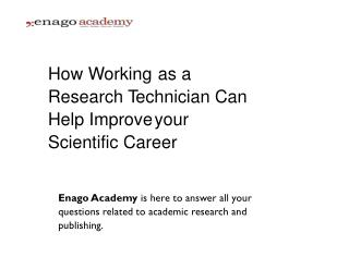 How Working as a Research Technician Can Help Improve your Scientific Career