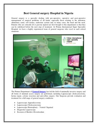 Best general surgery hospital in Nigeria