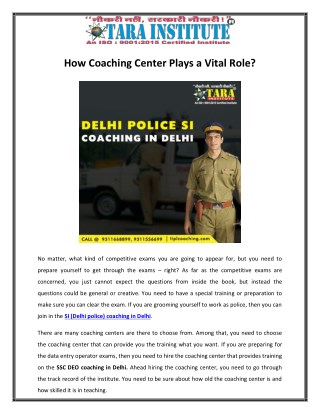 How Coaching Center Plays a Vital Role?