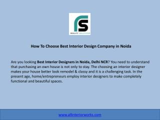 How to Choose The Best Interior Design Company in Noida?