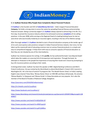 C. S. Sudheer Reviews Why People Have Complaints About Financial Products