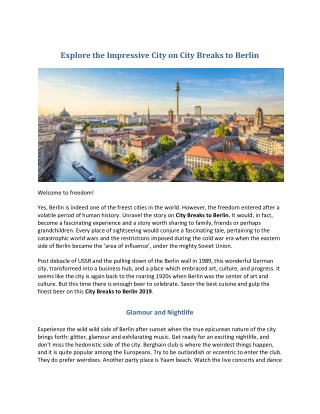 City Breaks to Berlin 2019 | Cheap Holidays to Berlin | Search A Holiday