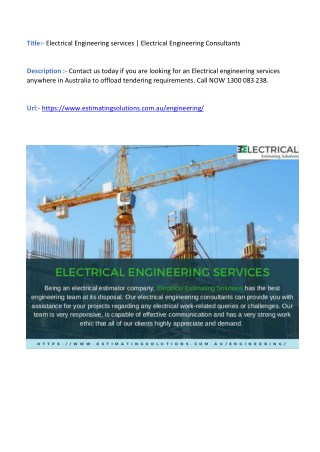 Electrical Engineering services   Electrical Engineering Consultants