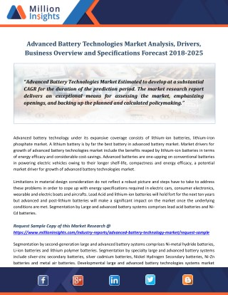 Advanced Battery Technologies Market Analysis, Drivers, Business Overview and Specifications Forecast 2018-2025