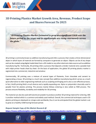 3D Printing Plastics Market Growth Area, Revenue, Product Scope and Shares Forecast To 2025