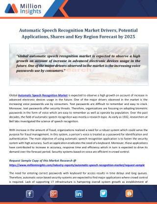 Automatic Speech Recognition Market Drivers, Potential Applications, Shares and Key Region Forecast by 2025