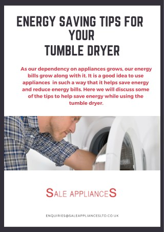 Energy Saving Tips for Your Tumble Dryer
