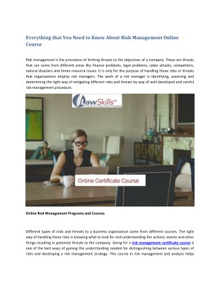 Everything that You Need to Know About Risk Management Online Course