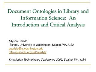 Document Ontologies in Library and Information Science:  An Introduction and Critical Analysis