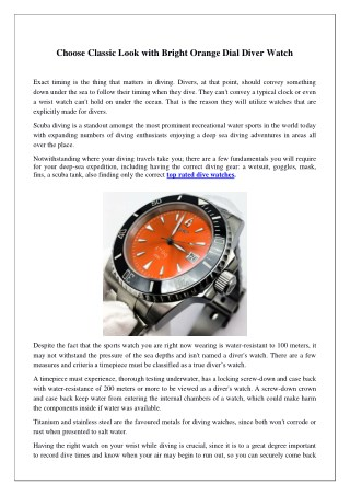 Choose Classic Look with Bright Orange Dial Diver Watch